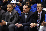 15 November 2014: Duke head coach Mike Krzyzewski (center) with assistants Jeff Capel (left) and Jon Scheyer (right). The Duke University Blue Devils hosted the Fairfield University Stags at Cameron Indoor Stadium in Durham, North Carolina in an NCAA Men's Basketball exhibition game. Duke won the game 109-59.