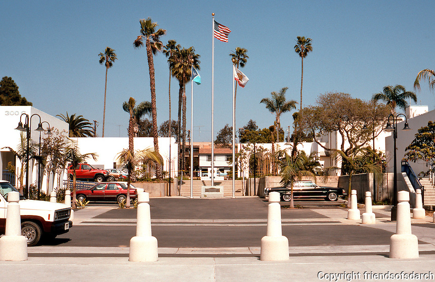 Charles Moore: Oceanside City Hall, Looking East across Ditmar to the old Irving Gill City Hall-Fire Station Complex. (Photo '91)