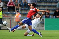 FUSSBALL   DFB POKAL   SAISON 2011/2012  1. Hauptrunde SpVgg Unterhaching - SC Freiburg             31.07.2011 Jonas Hummels  (li, Unterhaching)  gegen Daniel Caligiuri (re, SC Freiburg)