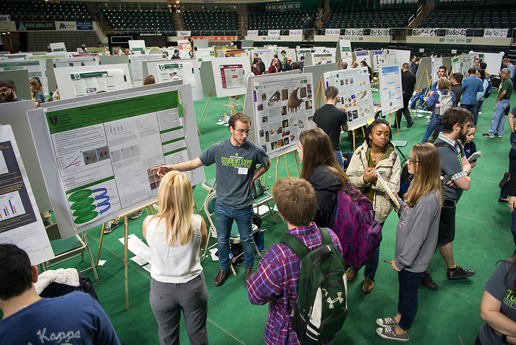 Mahmoud Tabbaa discusses his research at Ohio University's Student Research and Creative Activity Expo. Photo by Ben Siegel