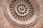 The 15th century  rose window of the cathedral of Ostuni, Puglia, South Italy.