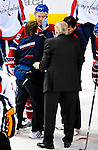 10 February 2010: With blood staining the ice, Montreal Canadiens' defenseman Josh Gorges is tended to on the ice by trainers and team physician after blocking a slapshot during a game against the Washington Capitals at the Bell Centre in Montreal, Quebec, Canada. The Canadiens defeated the Capitals 6-5 in sudden death overtime, ending Washington's team-record winning streak at 14 games. Mandatory Credit: Ed Wolfstein Photo