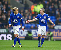 BOLTON, ENGLAND - Saturday, January 26, 2013: Everton's captain Phil Neville and Leon Osman argue after Bolton Wanderers' first equalising goal during the FA Cup 4th Round match at the Reebok Stadium. (Pic by David Rawcliffe/Propaganda)