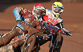 Heat 1: Davey Watt (red) and Simon Stead (yellow) - Lakeside Hammers vs Swindon Robins at the Arena Essex Raceway, Pufleet - 18/06/12 - MANDATORY CREDIT: Rob Newell/TGSPHOTO - Self billing applies where appropriate - 0845 094 6026 - contact@tgsphoto.co.uk - NO UNPAID USE..