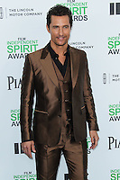 SANTA MONICA, CA, USA - MARCH 01: Matthew McConaughey at the 2014 Film Independent Spirit Awards held at Santa Monica Beach on March 1, 2014 in Santa Monica, California, United States. (Photo by Xavier Collin/Celebrity Monitor)