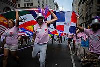 Revellers take part in the Gays Pride Parade in New York. June 24, 2012. Photo by Eduardo Munoz Alvarez / VIEW..