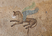 Fresco detail of a winged horse, from the Casa dell Efebo, or House of the Ephebus, Pompeii, Italy. This is a large, sumptuously decorated house probably owned by a rich family, and named after the statue of the Ephebus found here. Pompeii is a Roman town which was destroyed and buried under 4-6 m of volcanic ash in the eruption of Mount Vesuvius in 79 AD. Buildings and artefacts were preserved in the ash and have been excavated and restored. Pompeii is listed as a UNESCO World Heritage Site. Picture by Manuel Cohen
