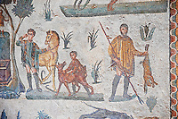 Hunters after the hunt from the Room of The Small Hunt, no 25 - Roman mosaics at the Villa Romana del Casale which containis the richest, largest and most complex collection of Roman mosaics in the world, circa the first quarter of the 4th century AD. Sicily, Italy. A UNESCO World Heritage Site.