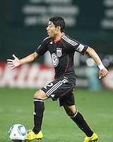 Cristian Castillo #12 of D.C. United moves the ball forward during an MLS match against the New England Revolution on April 3 2010, at RFK Stadium in Washington D.C.