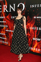 LOS ANGELES, CA - OCTOBER 25: Felicity Jones at  the screening of Sony Pictures Releasing's 'Inferno' held at the DGA Theater on October 25, 2016 in Los Angeles, California. Credit: David Edwards/MediaPunch