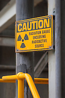 Radiation caution sign.<br />