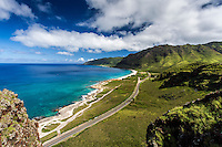 An aerial view of Farrington Highway along Yokohama Bay, West O'ahu, seen while hiking.