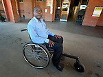 Sunny Nyamandwe at the National Rehabilitation Centre in Ruwa, Zimbabwe. The Centre assembles and fits wheelchairs provided by the Jairos Jiri Association with support from CBM-US, and Nyamandwe is one of the beneficiaries of the program. His legs remain paralyzed after an automobile accident more than two decades ago.