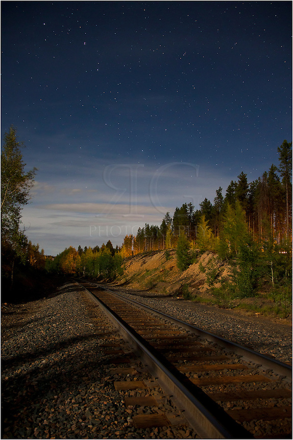 Late one evening, I was photographing stars along the train tracks near Winter Park, Colorado. I noticed the big dipper rising (or setting - can't remember!) and took this long exposure of the night sky. This Colorado image was lit by a nearly full moon behind me, as well.