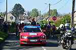 Race Director Christian Prudhomme waves the flag for the actual start outside Compiegne of the 115th edition of the Paris-Roubaix 2017 race running 257km Compiegne to Roubaix, France. 9th April 2017.<br /> Picture: ASO/P.Ballet | Cyclefile<br /> <br /> <br /> All photos usage must carry mandatory copyright credit (&copy; Cyclefile | ASO/P.Ballet)