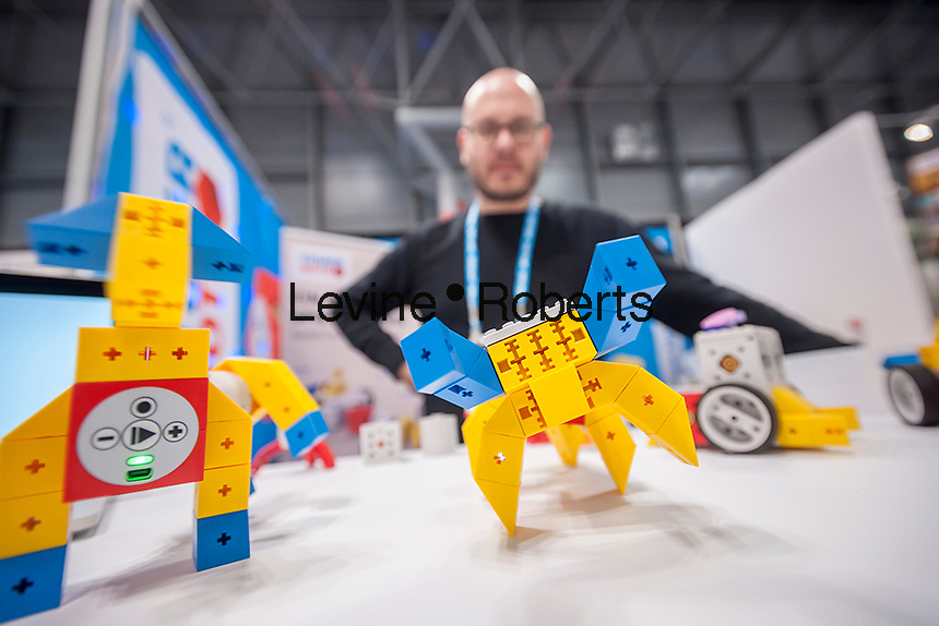 Günter Mesmer demonstrates Tinkerbots robotic toys at the 113th North American International Toy Fair in the Jacob Javits Convention center in New York on Sunday, February 14, 2016.  The four day trade show with over 1000 exhibitors connects buyers and sellers and draws tens of thousands of attendees.  The toy industry generates over $84 billion worldwide and Toy Fair is the largest toy trade show in the Western Hemisphere. (© Richard B. Levine)