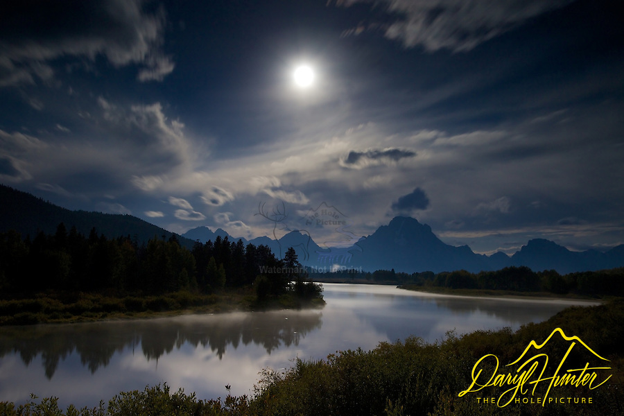 Moon over Oxbow Bend in Grand Teton National Park