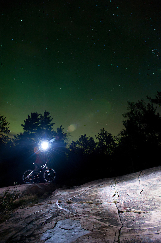 Night mountain bike riding near Marquette Michigan.