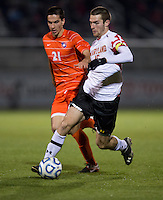 Ara Amirkhanian (21) of Clemson is outpaced by Patrick Mullins (15) of Maryland during the game at the Maryland SoccerPlex in Germantown, MD. Maryland defeated Clemson, 1-0, in overtime.  With the win the Terrapins advanced to the finals of the ACC men's soccer tournament.