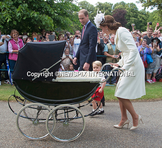05.07.2015; Sandringham, UK: PRINCESS CHARLOTTE CHRISTENING<br />Kate, Prince William and Prince George attend the baptism at St Mary Magdalene Church, Samndringham<br />Mandatory Photo Credit: &copy;NEWSPIX INTERNATIONAL<br /><br />**ALL FEES PAYABLE TO: &quot;NEWSPIX INTERNATIONAL&quot;**<br /><br />PHOTO CREDIT MANDATORY!!: NEWSPIX INTERNATIONAL(Failure to credit will incur a surcharge of 100% of reproduction fees)<br /><br />IMMEDIATE CONFIRMATION OF USAGE REQUIRED:<br />Newspix International, 31 Chinnery Hill, Bishop's Stortford, ENGLAND CM23 3PS<br />Tel:+441279 324672  ; Fax: +441279656877<br />Mobile:  0777568 1153<br />e-mail: info@newspixinternational.co.uk