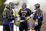 14 April 2007: University of Albany Great Danes' Greg Shondel (17), a Junior from Kinnelon, NJ, talks with teammates during a break in the action against the University of Vermont Catamounts at Moulton Winder Field, in Burlington, Vermont. The Great Danes defeated the Catamounts 14-7...Mandatory Photo Credit: Ed Wolfstein Photo