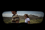 Travel scenes of Wyoming through the window of a rented Mazda M5...A roadside rest area near Muddy Gap, Wyoming.