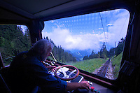Riding down Pilatus on the Pilatusbahn cog railway, the world's steepest cog rail system...well worth the ride!