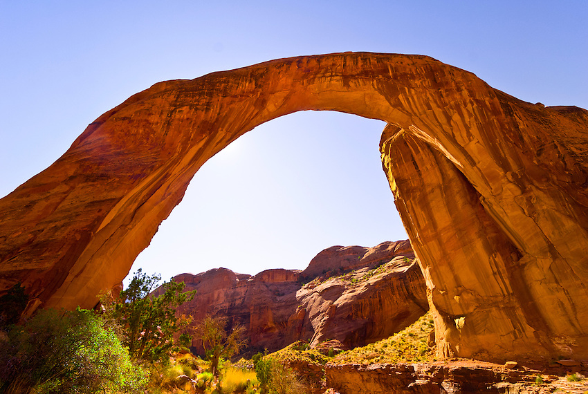 Rainbow Bridge arch (world's largest known natural bridge), Rainbow Bridge National Monument, Lake Powell, Glen Canyon National Recreation Area, Arizona/Utah border USA