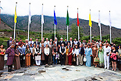 The first GNH Fund participants pose for a photo with the Bhutanese Prime Minister, Jigmi Y Thinley (centre) at the Terma Linca Hotel in Thimphu, Bhutan. Photo: Sanjit Das/Panos