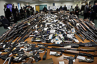 New Jersey, United States. 19th Feb, 2013. At least 1.700 weapons are displayed to the media after being acquired during the Gun Buyback program, last weekend, in the Essex county in New Jersey. Photo by Kena Betancur / VIEWpress.