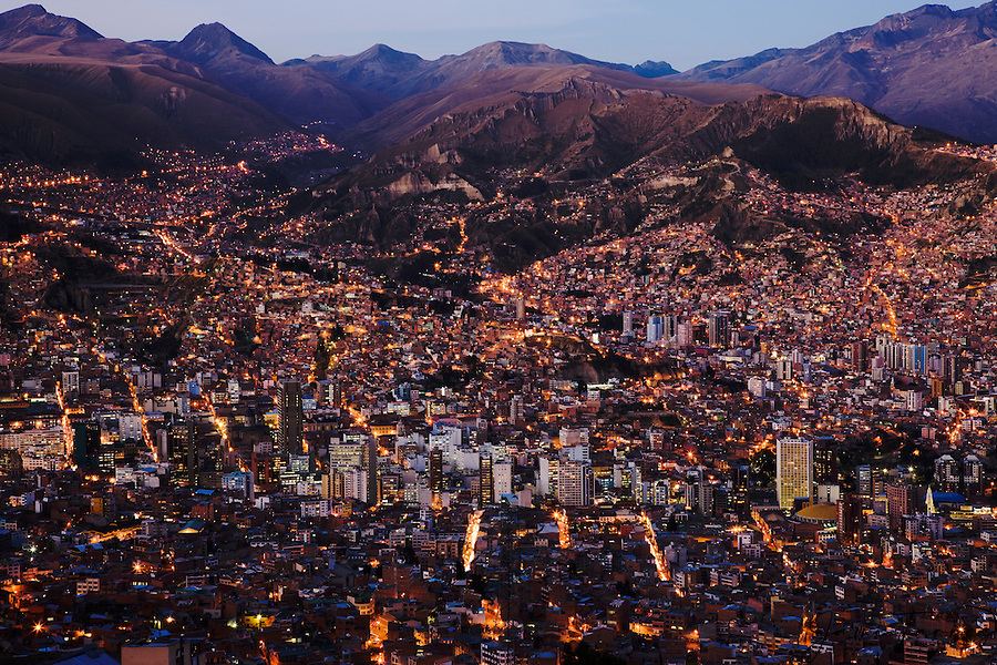 Aerial view of the city of La Paz at dusk, La Paz, Bolivia, South ...: jamitarris.photoshelter.com/image/i0000.aiib_pfhfo