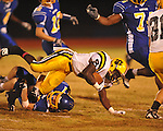 Oxford High's Conrey Meagher(17) makes a tackle vs. Hernando in Oxford, Miss. on Friday, October 14, 2011. Hernando won 31-30 in overtime.