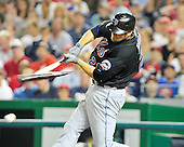 New York Mets right fielder Lucas Duda (21) breaks his bat as he grounds into a double play in the seventh inning against the Washington Nationals at Nationals Park in Washington, D.C. on Saturday, July 30, 2011.  The Nationals won the game 3 - 0..Credit: Ron Sachs / CNP.(RESTRICTION: NO New York or New Jersey Newspapers or newspapers within a 75 mile radius of New York City)