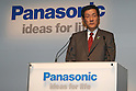 May 31, 2010 - Tokyo, Japan - Panasonic Executive Vice President Toshihiro Sakamoto delivers a speech during a press-conference in Tokyo, on May 31, 2010. The Panasonic Group will launch on July 1, 2010 its HIT215 Series household solar power generation systems, the first series since he acquired domestic rival Sanyo. Panasonic is aiming for top market share of at least 35 percent in Japan by 2012.