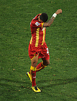 Kevin Prince Boateng of Ghana wipes his forehead as he goes off injured. Ghana defeated the USA 2-1 in overtime in the 2010 FIFA World Cup at Royal Bafokeng Stadium in Rustenburg, South Africa on June 26, 2010.