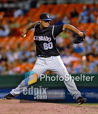 20 July 2007: Colorado Rockies pitcher Manny Corpas in action against the Washington Nationals at RFK Stadium in Washington, DC. The Rockies defeated the Nationals 3-1 in the second game of their 4-game series...Mandatory Photo Credit: Ed Wolfstein Photo