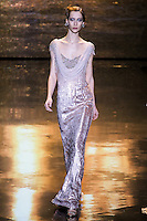 Alana Zimmer walks runway in an outfit from the Badgley Mischka Fall 2011 fashion show, during Mercedes-Benz Fashion Week Fall 2011.