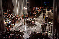 Washington National Cathedral - March 31, 1969. The casket of President Dwight Eisenhower is removed from the Cathederal. He (October 14, 1890 - March 28, 1969) was the 34th President of the United States from 1953 until 1961, was a five-star general in the United States Army during World War II and was the first supreme commander of NATO.