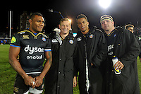 Semesa Rokoduguni, Chris Cook, Anthony Watson and Henry Thomas of Bath Rugby after the match. European Rugby Champions Cup match, between Bath Rugby and Leinster Rugby on November 21, 2015 at the Recreation Ground in Bath, England. Photo by: Patrick Khachfe / Onside Images