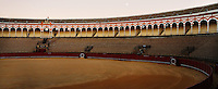 """Panoramic view of the arena, Plaza de Toros de la Real Maestranza de Caballeria de Sevilla, Seville, Spain, pictured on January 2, 2007, in the afternoon. The Plaza de Toros de la Real Maestranza, 1762-1881, is the oldest bullring in Spain. Its Baroque facade, was built by several architects. The arena seats 14,000 and is known for its wonderful acoustics. It is the setting for Bizet's opera """"Carmen"""". Picture by Manuel Cohen."""