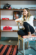 Mexican Designer, Sara Beltran of Deszo poses for a portrait in her studio in Jaipur, Rajasthan, India.