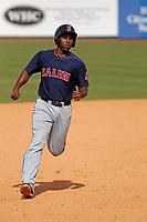 Salem Red Sox first baseman Josh Ockimey (30) running the base paths during a game against the Down East Wood Ducks  at Grainger Stadium on April 16, 2017 in Kinston, North Carolina. Salem defeated Down East 9-2. (Robert Gurganus/Four Seam Images)
