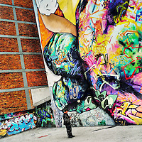 A Colombian man reads a message in front of a large graffiti artwork, created by artists named Jade & Vertigo Graffiti & MDCREW, in the center of Bogotá, Colombia, 17 February, 2016. A social environment full of violence and inequality (making the street art an authentic form of expression), with a surprisingly liberal approach to the street art from Bogotá authorities, have given a rise to one of the most exciting and unique urban art scenes in the world. While it's technically not illegal to scrawl on Bogotá's walls, artists may take their time and paint in broad daylight, covering the walls of Bogotá not only in territory tags and primitive scrawls but in large, elaborate artworks with strong artistic style and concept. Bogotá has become an open-air gallery of contemporary street art.