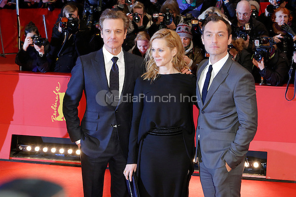 Colin Firth, Laura Linney and Jude Law attending the &quot;Genius&quot; premiere held at Grand Hyatt Hotel during 66th Berlinale International Film Festival, Berlin, Germany, 16.02.2016. <br /> Photo by Christopher Tamcke/insight media /MediaPunch ***FOR USA ONLY***