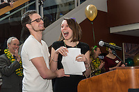 Erin Hayes, right. Photo by Raj Chawla / UVM Medical Photography Match Day, class of 2013.