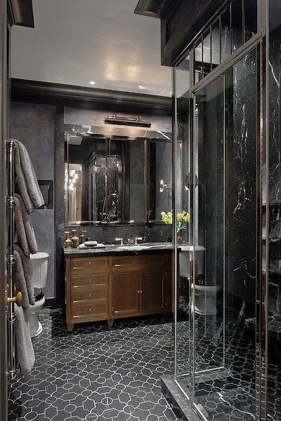 This custom Waldorf Astoria bathroom features Chatham 2, a handmade New Ravenna mosaic shown in honed Bardiglio.<br /> -photo courtesy of Steven Gambrel for the Waldorf Astoria - The Astor Suite, NYC.