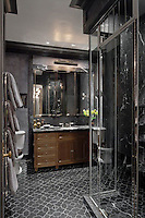 This custom Waldorf Astoria bathroom features Chatham 2, a handmade New Ravenna mosaic shown in honed Bardiglio.<br />