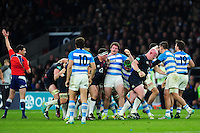Jamie George of England celebrates as referee Pascal Gauzere awards England a penalty. Old Mutual Wealth Series International match between England and Argentina on November 26, 2016 at Twickenham Stadium in London, England. Photo by: Patrick Khachfe / Onside Images