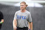 19 August 2012: Duke assistant coach Billy Lesesne. The Duke University Blue Devils defeated the Elon University Phoenix 8-0 at Koskinen Stadium in Durham, North Carolina in a 2012 NCAA Division I Women's Soccer game.