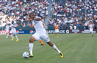 LA Galaxy rookie forward Tristan Bowen (17) moves with the ball towards goal. The LA Galaxy defeated the Houston Dynamo 4-1 at Home Depot Center stadium in Carson, California on Saturday evening June 5, 2010..